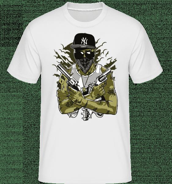 Gangsta Zombie -  Shirtinator Men's T-Shirt - White - Front