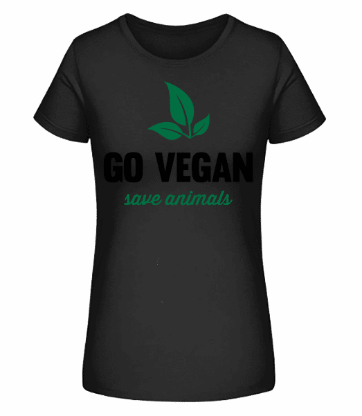 Go Vegan Save Animals - Women's Premium Organic T-Shirt Stanley Stella - Black - Front