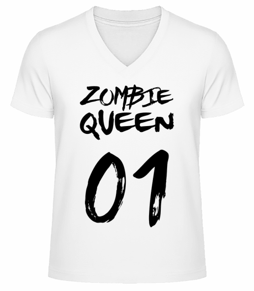 Zombie Queen - Men's V-Neck Organic T-Shirt - White - Vorn