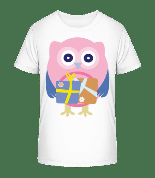 Cute Owl With Presents - Kid's Premium Bio T-Shirt - White - Vorn