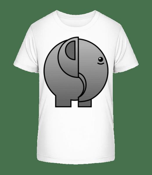 Elefant Comic - Kinder Premium Bio T-Shirt - Weiß - Vorn