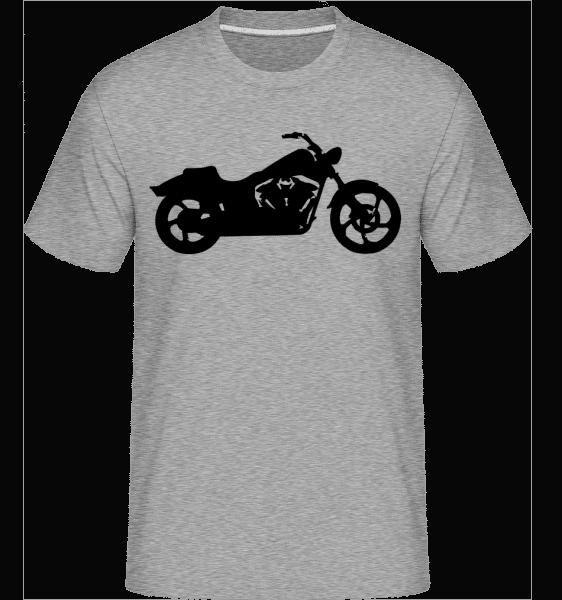 motocykl stín -  Shirtinator tričko pro pány - Melirovĕ šedá - Napřed