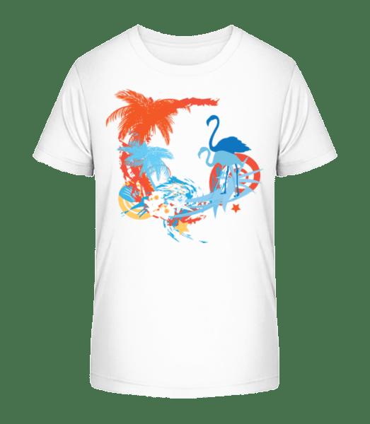 Flamingos In Paradise Blue/Orang - Kid's Premium Bio T-Shirt - White - Vorn