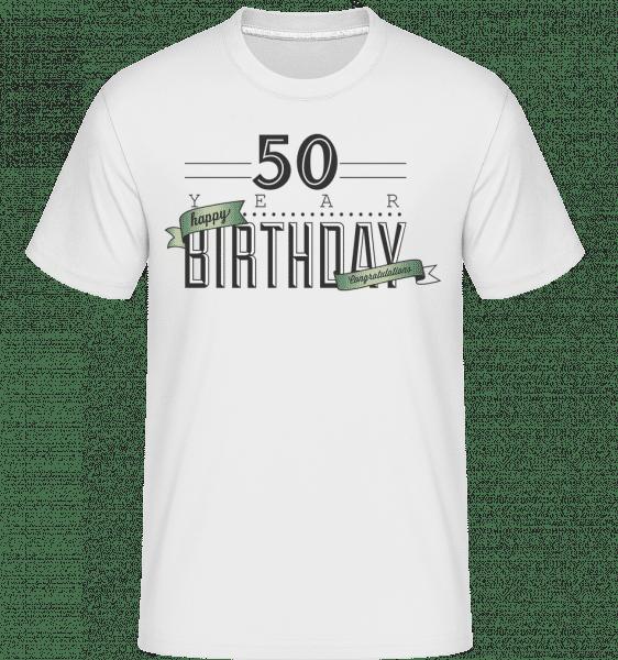 50 Birthday Sign -  T-Shirt Shirtinator homme - Blanc - Vorn