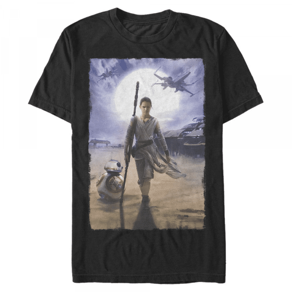 Rey Painting Group Shot - Star Wars Episode 7 - Men's T-Shirt - Black - Front