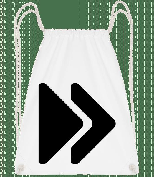 Fast Forward Symbol - Drawstring Backpack - White - Vorn
