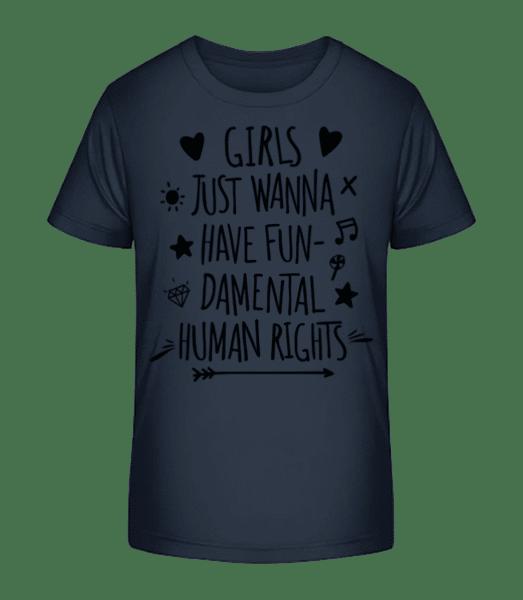 Damental Human Rights - Kid's Premium Bio T-Shirt - Navy - Front