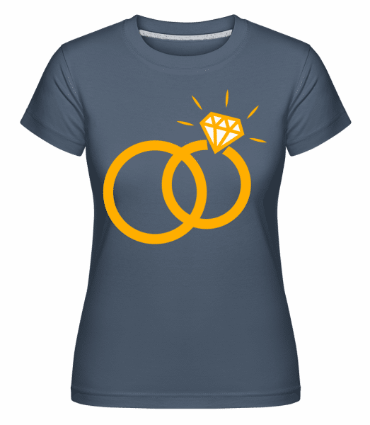 Diamond Wedding Rings -  Shirtinator Women's T-Shirt - Denim - Vorn