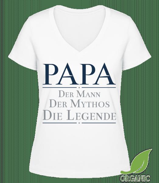 Papa Die Legende - Janet Bio T-Shirt V-Ausschnitt - Weiß - Vorn