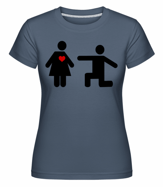 Woman And Man With Heart Logo -  Shirtinator Women's T-Shirt - Denim - Vorn
