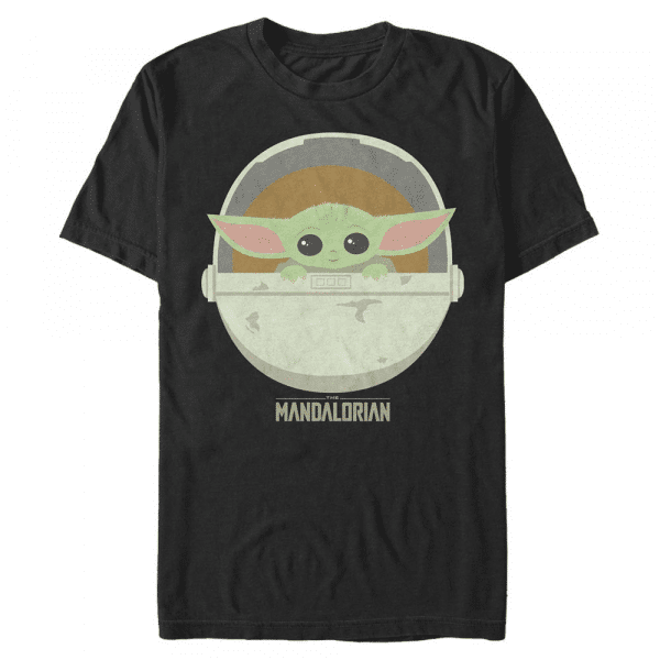 The Child Cute Bassinet - Star Wars Mandalorian - Men's T-Shirt - Black - Front