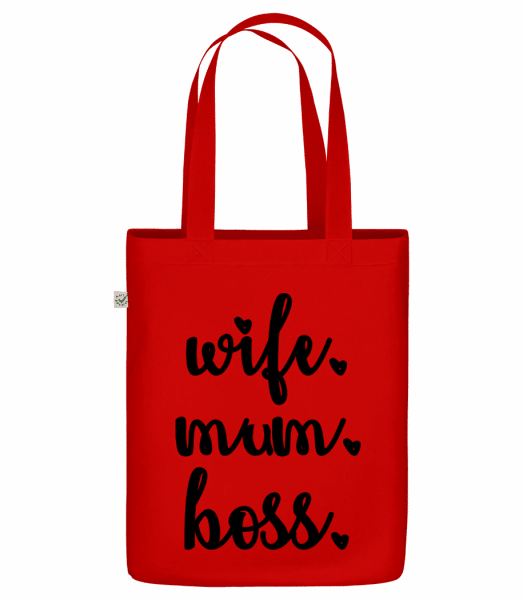 """Wife Mum Boss - Organic """"Earth Positive"""" tote bag - Red - Vorn"""