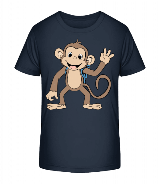 Cute Monkey With Bag - Kid's Premium Bio T-Shirt - Navy - Front