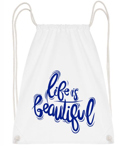 Life Is Beautiful - Drawstring Backpack - White - Vorn