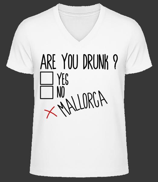 Jste Drunk Mallorca - Pánské bio tričko s V-výstřihem - Bílá - Napřed