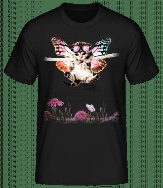 Butterfly Cat - Men's Basic T-Shirt - Black - Front