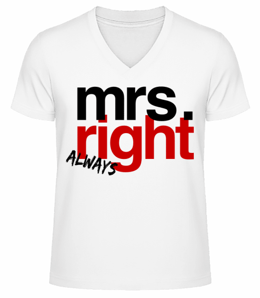 Mrs. Always Right Logo - Men's V-Neck Organic T-Shirt - White - Vorn