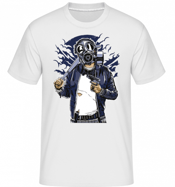Gasmask Bastard -  Shirtinator Men's T-Shirt - White - Front