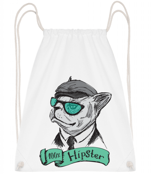 100% Hipster Dog - Drawstring Backpack - White - Vorn