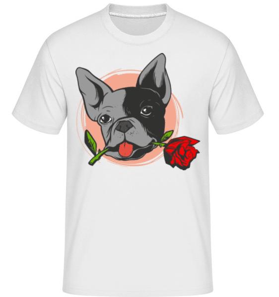 Bulldog Rose -  Shirtinator Men's T-Shirt - White - Front