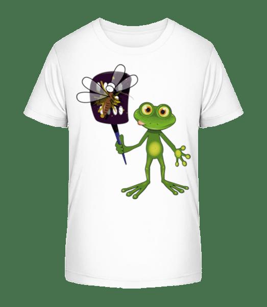 Frog With Fly Swatter - Kid's Premium Bio T-Shirt - White - Vorn