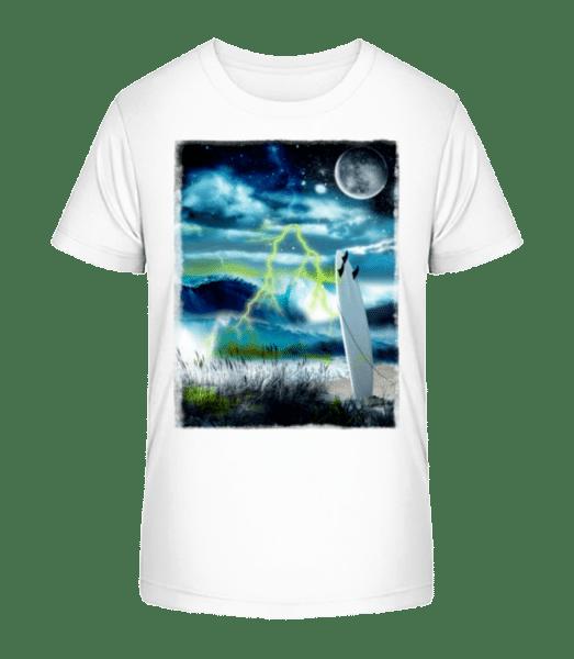 Beach In Space - Kid's Premium Bio T-Shirt - White - Vorn