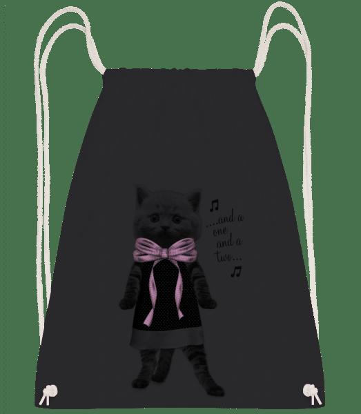 Dancing Cat - Drawstring Backpack - Black - Vorn
