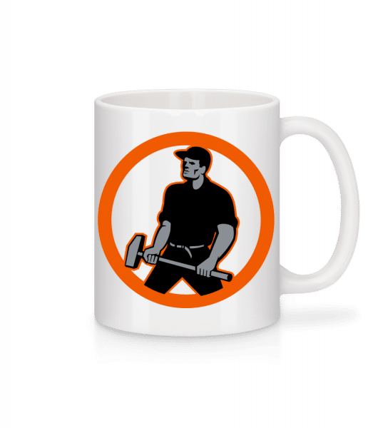 Construction Worker Logo - Tasse - Weiß - Vorn