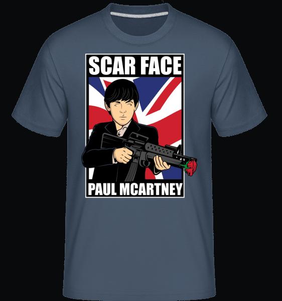 Paul Mccartney Scar Face -  Shirtinator Men's T-Shirt - Denim - Vorn