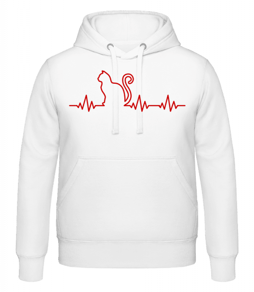 Heartbeat Cat - Hoodie - White - Vorn