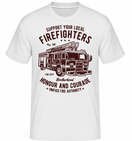 Fire Fighters Truck -  Shirtinator Men's T-Shirt - White - Front