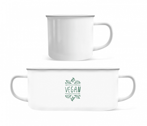 Vegan Sign - Enamel-cup - White - Vorn
