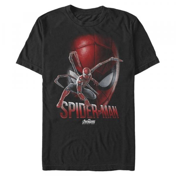 Iron-Spidey Face Spider-Man - Marvel Avengers Infinity War - Men's T-Shirt - Black - Front