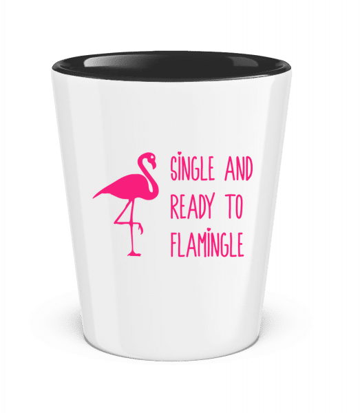 Single And Ready To Flamingle - Schnapsglas zweifarbig - Schwarz - Vorn