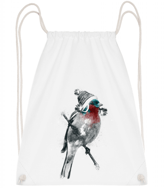 Christms Bird - Drawstring Backpack - White - Vorn