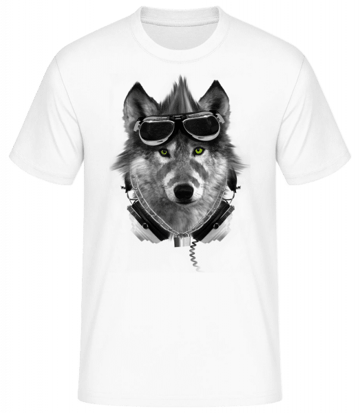 Biker Wolf - Men's Basic T-Shirt - White - Vorn