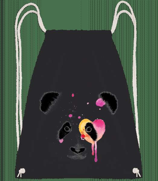 Watercolor Panda - Drawstring Backpack - Black - Vorn