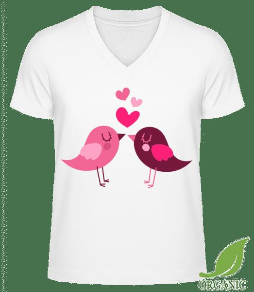 "Birds Love - ""James"" Organic V-Neck T-Shirt - White - Vorn"