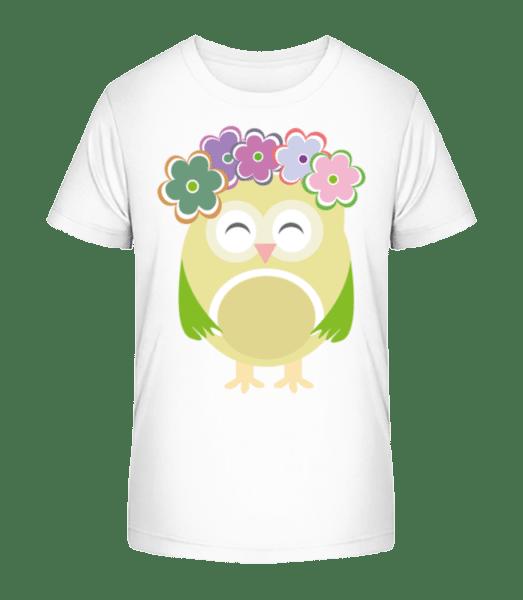 Cute Owl With Flowers - Kid's Premium Bio T-Shirt - White - Vorn