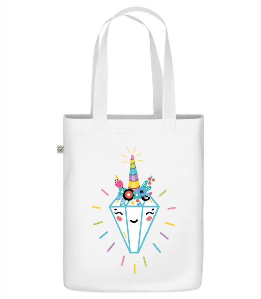 "Happy Diamond - Organic ""Earth Positive"" tote bag - White - Vorn"