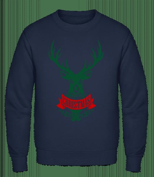 Merry Christmas Deer Label - Classic Set-In Sweatshirt - Navy - Vorn
