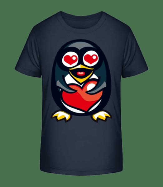 Love Penguin - Detské Premium Bio tričko - Namořnická modrá - Napřed