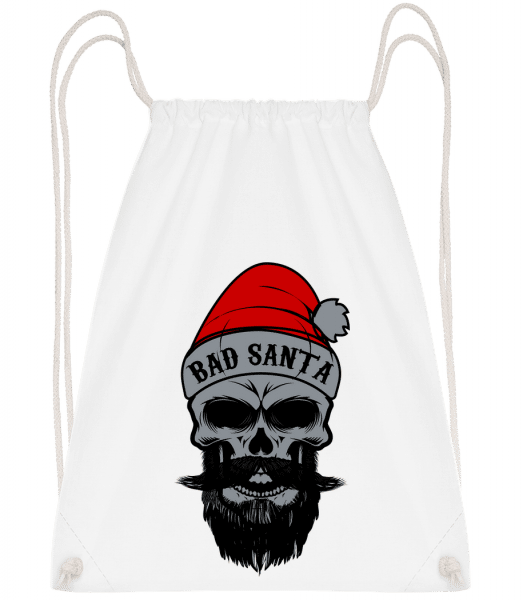 Bad Santa Skull - Drawstring Backpack - White - Vorn