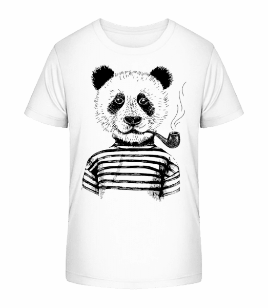 Hipster Panda - Kid's Premium Bio T-Shirt - White - Vorn