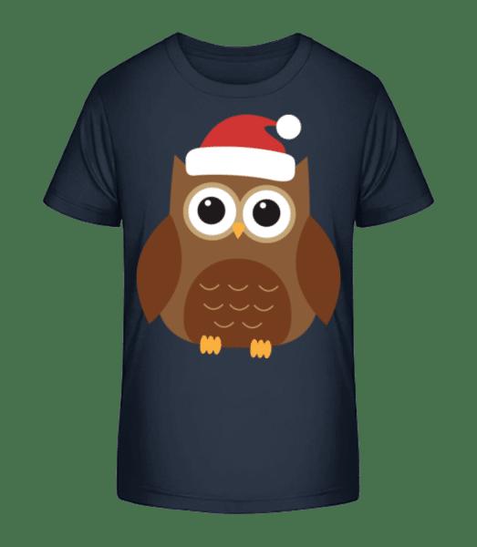 Vianočné Owl - Detské Premium Bio tričko - Namornícka modrá - Predné