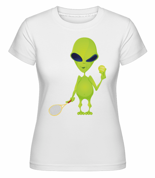 Alien Plays Tennis -  Shirtinator Women's T-Shirt - White - Vorn