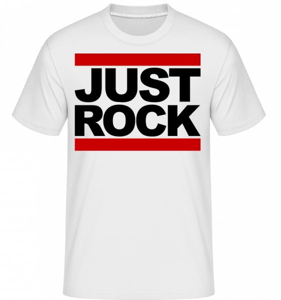 Just Rock Logo -  Shirtinator Men's T-Shirt - White - Vorn