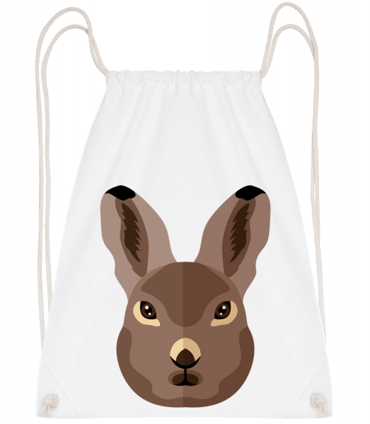 Bunny Comic Shadow - Drawstring Backpack - White - Vorn
