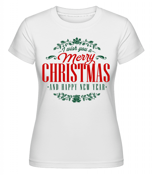 Merry Christmas Label -  Shirtinator Women's T-Shirt - White - Vorn