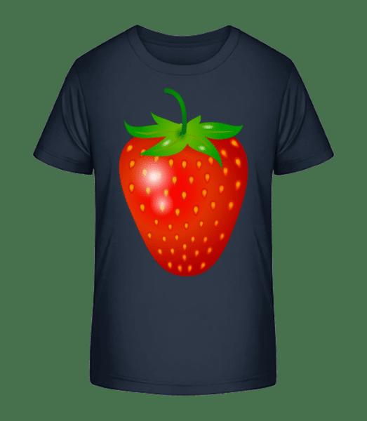 Erdbeere - Kinder Premium Bio T-Shirt - Marine - Vorn